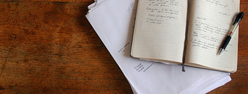note book on table