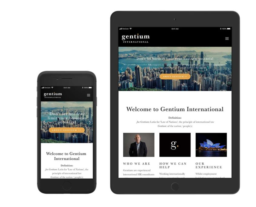 Gentium-website on tablet and mobile